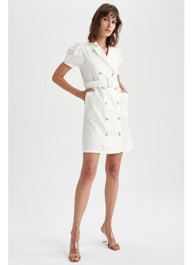 DeFacto Poplin Düğme Detaylı Kemerli Ceket Elbise Beyaz